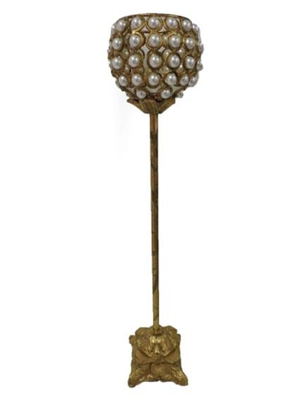 Castiçal Pérola Dourado  0,16 diâm X 0,79 alt