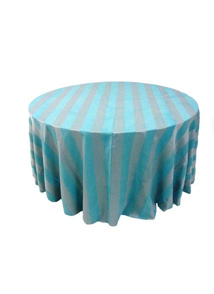 Toalha 3,20 Redonda Jacquard Listada Azul Tifany