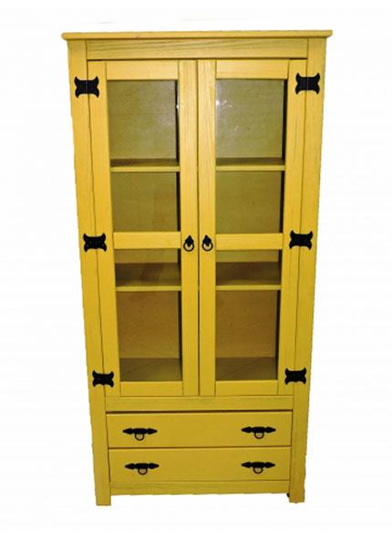 Armário Cristaleira Amarela 2P 2G