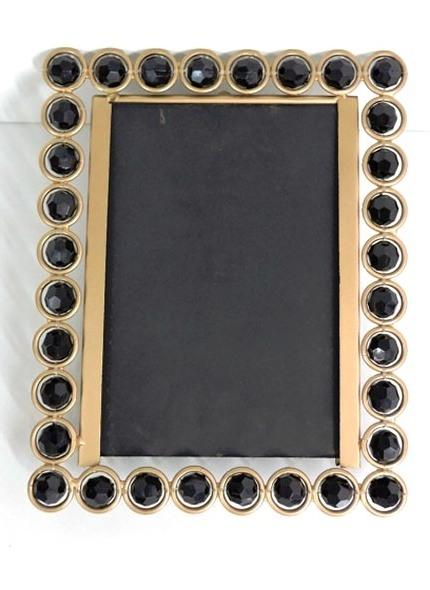 Porta Retrato Dourado Pedra Preta 10X15