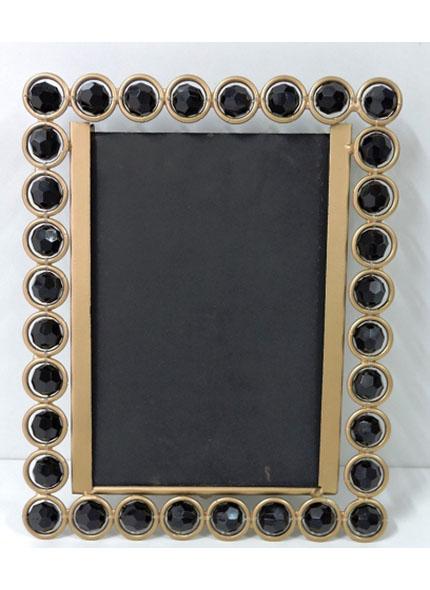 Porta Retrato Dourado Pedra Preta 21X15