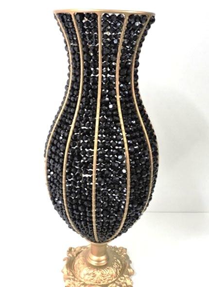 Vaso Ânfora Dourado Pedras Preta 60 cm .