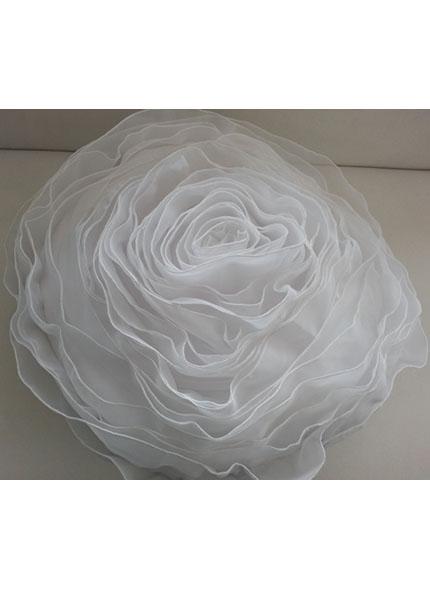 Almofada Cetim Formato Rosa Branca 40cm Diâmetro