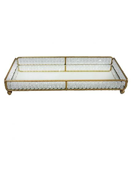 Bandeja  Dourada  Cristal Retangular 15X30