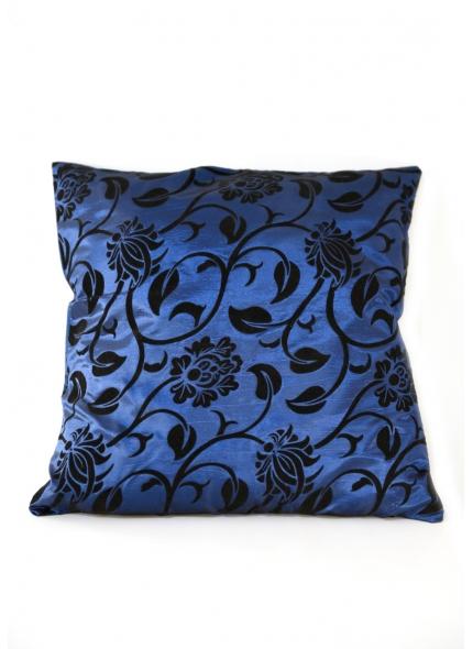 Almofada Cetim  Azul c/ floral Preto 40x40