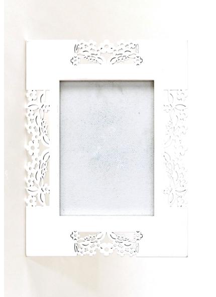 Porta Retrato Flores Branco P