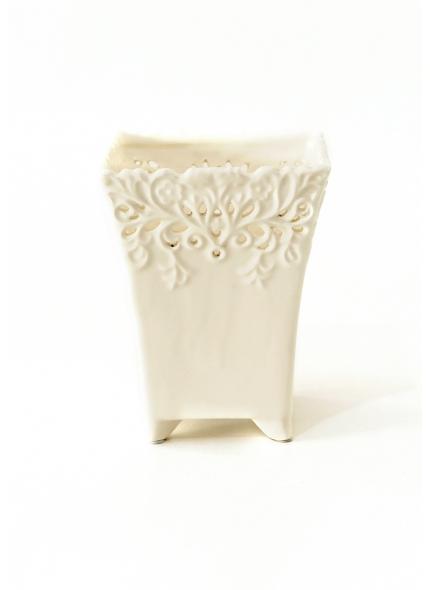 Cachepô Branco Cerâmica Quadrado 0,17x0,13